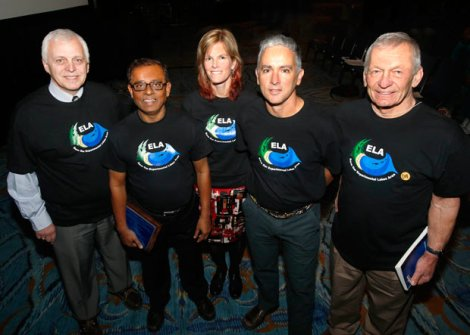 ELA Supporters: Dr. John Downing, ASLO President & Iowa State University, Dr. Azit Mazumder, University of Victoria, Dr. Karen Kidd, University of New Brunswick, Dr. James Elser, ASLO President-elect and Arizona State University, and Dr. David Schindler, Killam Memorial Professor, University of Alberta.